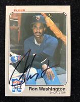 RON WASHINGTON 1983 FLEER AUTOGRAPHED SIGNED AUTO BASEBALL CARD 626