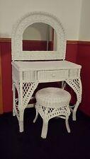 White Wicker Vanity Dressing Table Set makeup drawer mirror & chair/stool GirLs