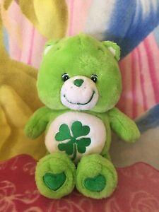 """13"""" PLUSH GREEN GOOD LUCK SHAMROCK IRISH CLOVER BABY BOY GIRL CARE BEAR 1980 TOY"""