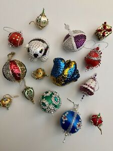 VINTAGE HAND-CRAFTED BEADED, SEQUIN, PINNED SATIN BALL CHRISTMAS ORNAMENTS 15-Pc