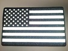 "(B) Large REFLECTIVE AMERICAN FLAG Black & White 10"" x 6.25"" Back patch (3919)"