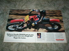 1982 HONDA CR480R Motorcycle MX Motocross Ad  2 pg Original Roger De Coster