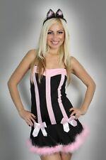 Halloween Womens Lingerie Black Pink Pussy cat Fancy Dress Costume Clubwear