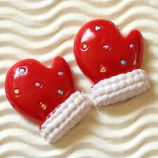 "10 x (1 1/8"") Santa Claus Resin Flatback Glove Beads for Christmas Cards SB479G"