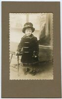 Antique Photo in folder - Very Cute Little Girls Wearing Winter Coat & Hat