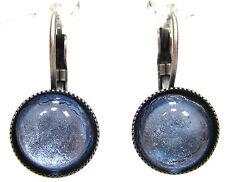 SoHo® Ohrhänger vintage Glas silver blue 60er Jahre handgemachte Glassteine blau