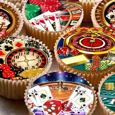 24 givrage fée gâteau Toppers Décorations Comestible ND3 Vegas Casino Gambling Poker