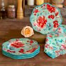 The Pioneer Woman Gorgeous Stoneware Garden Salad Plates, Set of 4 Teal Floral