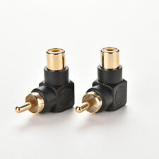 2X RCA Male to Female M/F Connector Adapter Audio AV Plug 90 Right-angle Pop E$U