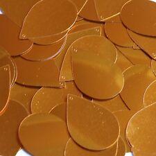 """Orange Shiny Metallic Sequins Teardrop 1.5"""" Large Couture Paillettes"""
