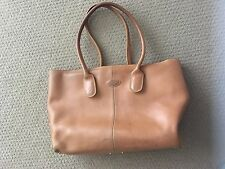 AUTHENTIC TOD'S Camel Leather D-Bag Tote Top Handle Bag