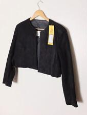 Vintage Leather By Wilsons Black Suede Leather Bolero Jacket Size Medium