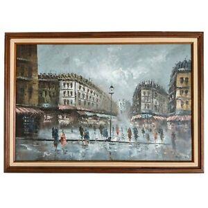 Vintage Mid Century CAROLINE BURNETT Original Oil Impasto Painting Paris Framed
