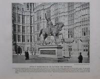 1896 London Aufdruck + Text Statue Richard Coeur De Löwe Löwenherz Westminster