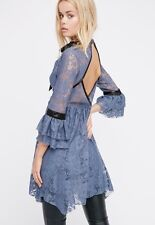 NEW Free People Gilded Lace Mini Dress Size XS Blue