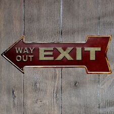Metal Tin Sign ARROW EXIT WAY OUT  Bar Pub Vintage Retro Poster Cafe ART