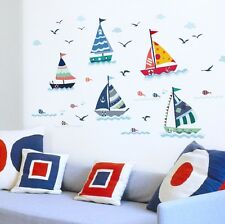 Voilier/Bateau/Yacht Wall Art Stickers Décalques Mural Nursery Kids Room Decor