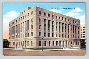 Jackson MS, Post Office, Linen Mississippi Postcard