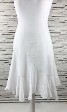 NEW LOOK White A-Line Handerchief Hem Cotton Skirt Size 14 Summer Holiday