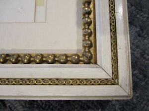 1976 white gold VINTAGE wood PICTURE FRAME fits 22 7/8X18 7/8 art GIRL PORTRAIT