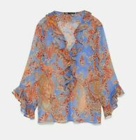 ZARA WOMAN NWT SALE! PRINTED BLOUSE WITH RUFFLES BLUE SIZE M REF: 7846/109
