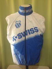 K Swiss Cycling Men's White Blue Sleeveless Windbreaker Jacket Size Large