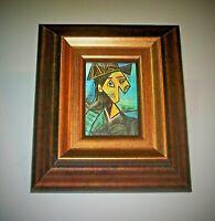 Picasso Framed Original Mini ACEO Signed Buste de femme au chapeau a fleurs 1942