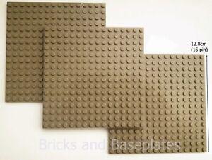 LEGO 3 x DARK TAN PLATE Base Boards Baseplate 16x16 Pin-12.8cm x 12.8cm x 0.5cm