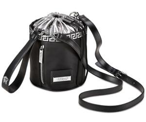 Versace Black & Silver Small Medusa Bucket Bag / Crossbody