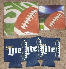 Miller Lite Beer Can Koozie Lot of 3+ Football Napkins for Super Bowl Game Party