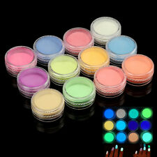 Acrylic Powder Glow In the Dark Collection 3D Nail Art Decoration 12 Colors Set