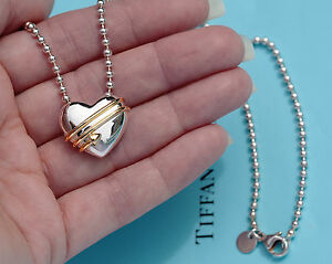Tiffany & Co 18 ct Gold Sterling Silver Heart Arrow Bead Chain Pendant Necklace