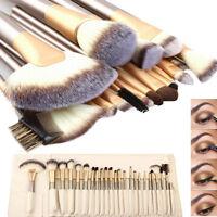 Pro 24Pcs Makeup Brushes Cosmetic Tool Kit Eyeshadow Powder Brush Set + Case