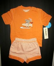 Carters Boys 2pc Orange White Surfer Dudes Short Set size 9 Months NWT
