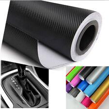 "12""x50"" 3D Carbon Fiber Vinyl Car Wrap Sheet Roll Film Sticker Decal 14 Colors"