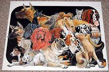 DOGS Poster Print BL Gibson Art Lithograph 1986 Dachshund Collie Pug Doberman