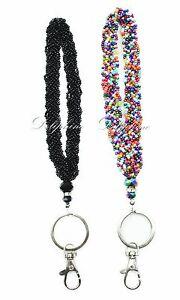 Mini Seed Beaded Crystal Wristlet Key Fob - Black / Rainbow / 2 pack