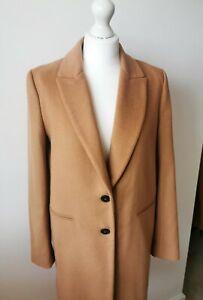 Zara Camel Masculine Wool Blend Coat Jacket Size M Medium 10 12