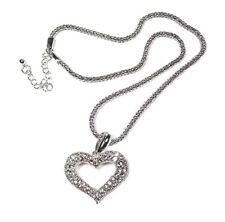 Silver Love Heart Necklace Crystal Pendant Long Chain Women Dress Gift Jewellery