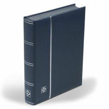 Briefmarkenalbum, Einsteckbuch, ECHTES LEDER, 64 Seiten, LEUCHTTURM, blau/silber
