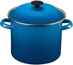 Le Creuset Marseille Blue Enameled Steel Covered Stockpot 8 US QTS / 7.6 L