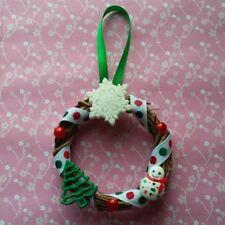 "Handmade Miniature Christmas Wreath Ornament 3"" Red White Green Snowman Tree"