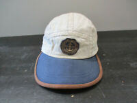 VINTAGE Tommy Hilfiger Hat Cap Strap Back White Blue Panel Sailing Mens 90s *