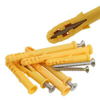 50Pcs 6*30mm Yellow Plastic Expansion Plug Pipe Anchor Wall Screw  Tube/_JNMAZD