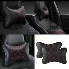 2pcs Black PU Leather Car Headrest Neck Pillow Soft Comfortable Pillow Cushion