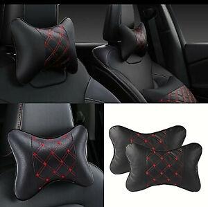 2pcs Black PU Leather Car Neck Pillow Comfortable Pillow Cushion Headrest Pillow