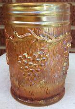 "Antique Dugan Vineyard / Grape Marigold Carnival Glass Tumbler 3 3/4"""