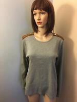 RALPH LAUREN Women XXL Gray Cotton Fitted T SHIRT TOP Faux Suede Shoulder Zipper