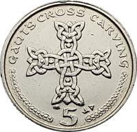 Isle of Man Gauts Cross Carving 5p coin - Circulated