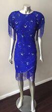 Fringe Flapper Vintage 90s does 20s Beaded Embellished Silk BLue Party Dress M 8
